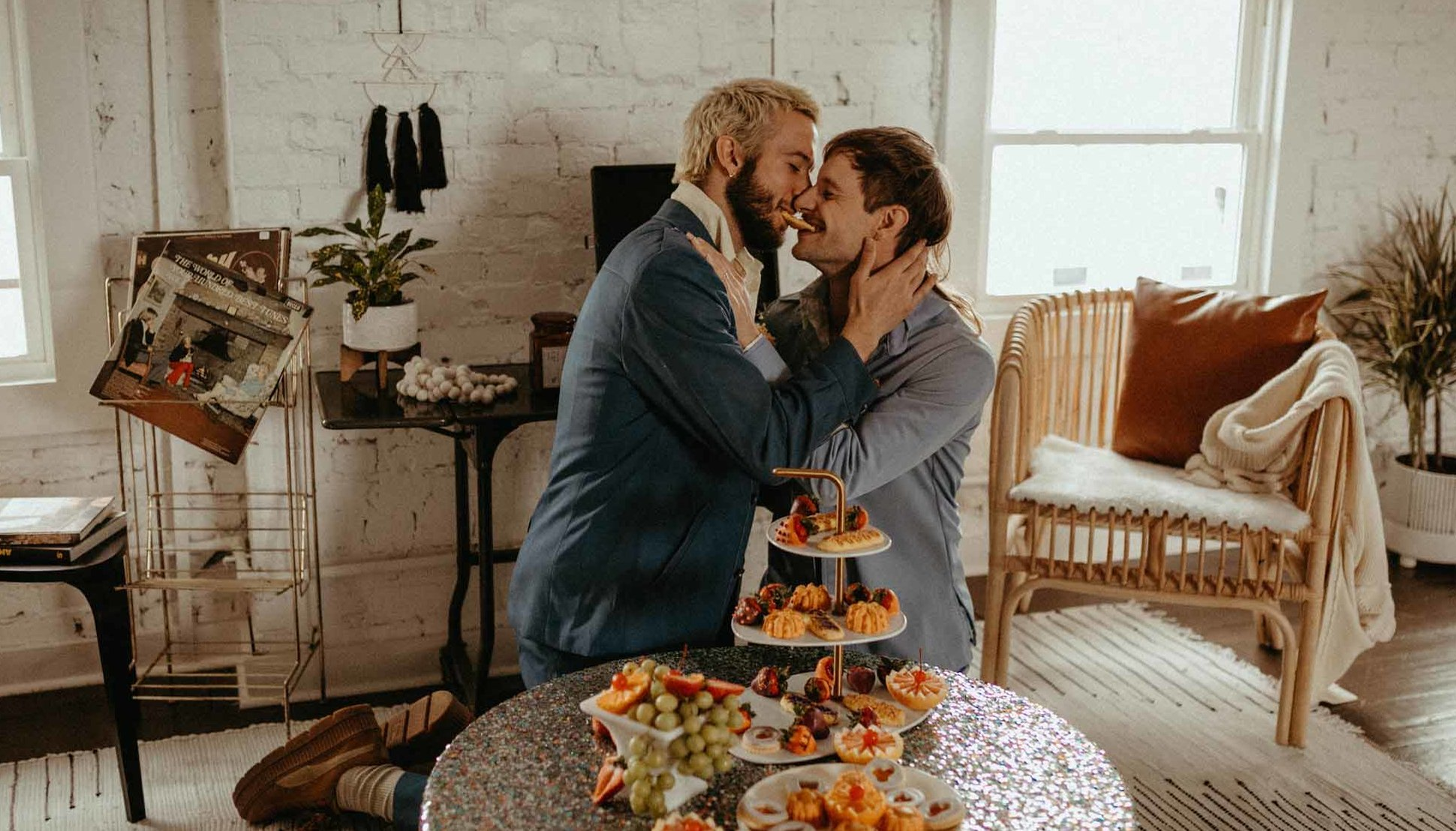 urban-loft-retro-lgbtq-elopement Savannah Williams photography gay two grooms queer mr & mr wedding Dancing With Them magazine